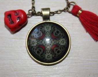 Bronze Buddha pendants, mandala and tassel necklace