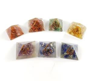 Seven Chakra Baby Orgone Mini Pyramid 7 Pieces Set