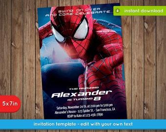 Spiderman Invitation Etsy - Spiderman party invitation template