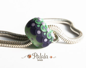 Big hole Lampwork Glass Bead, euro style bead, European charm bead, Matted charm bead, Etched charm bead