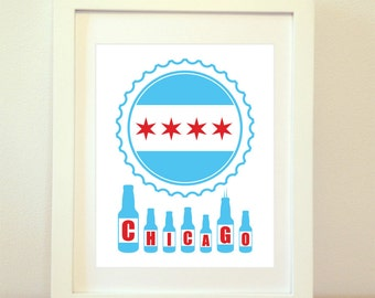 Chicago Skyline Beer Print, Chicago Beer, Chicago Skyline, CHI, Chicago Print, Chicago Poster, Chicago Art, Chicago Flag, 6 Sizes!