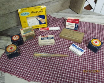 Vintage Assortment First Aid Kit Medical Supplies Lot - Johnson & Johnson Curity Red Cross Bandage Compresses Ammonia Stage Props