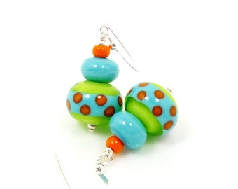 Lime and Turquoise Blue Earrings, Lampwork Earrings, Polka Dot Earrings, Glass Earrings, Glass Bead Earrings, Southwestern Earrings