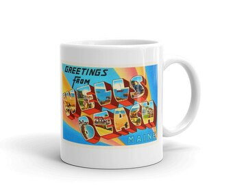Mug – Wells Beach ME Greetings From Maine Big Large Letter Postcard Retro Travel Gift Souvenir Coffee or Tea Cup