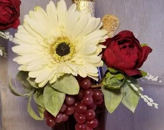 Wine Bottle Flower Topper Centerpiece Wedding Event Decor 6 pc Set