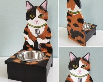 Cat Food Bowl - Calico Cat - Cat Food Dish - Pet Food Bowl - Calico Cat Decor - Cat Feeder - Cat Lover Gift - Feeding Stand