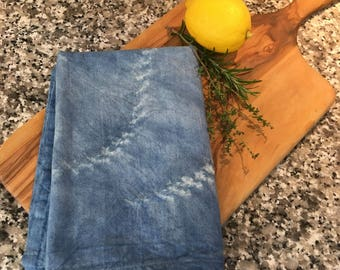 Shibori Indigo Blue Cotton Flour Sack Towel 45cm x 80 cm natural dye