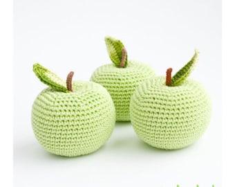 Apple rattle handmade organic cotton Calico Clouds