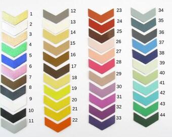 Set of 4 Chevron 3, 5cmx1cm solid color leather