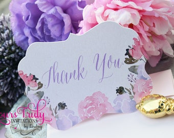 Pink Blush and Purple Lavender Die cut Bridal Shower Thank you note card set