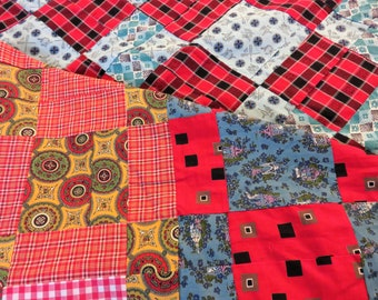 Block Unfinished Quilt Top, 68 x 80 Machine Stitched Quilt, 1970s bedding, multicolored vintage quilting, country bedding, quilter supply