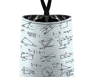 Car Trash Bag // Auto Trash Bag // Car Accessories // Car Litter Bag // Car Garbage Bag - Math Algebra Geometry School Teacher Chalkboard