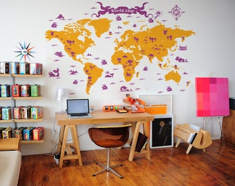 Large world map nursery wall decal baby nursery wall decal vintage world map nursery wall decal kids room wall decor pirates ships colorful map vinyl sticker gumiabroncs Images