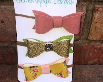 Blush, gold with green, and yellow floral headband
