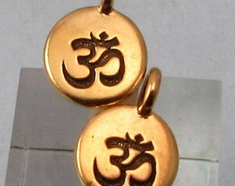Small Om Charm, Antique Gold, TierraCast 2-Pc. TG32