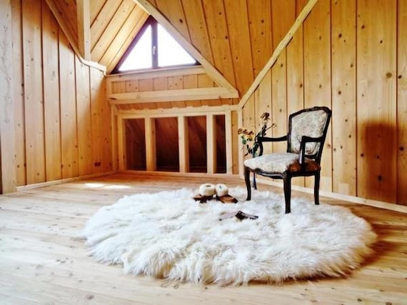 Very Big Pure Sheepskin Round Rug. Sheepskin decor. Floor & Rugs. Home decor. Area rug. Sheepskin carpet.