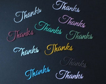 10 Thanks word die cuts assorted colours 160gsm card