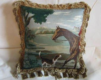 Handmade ENGLISH FOXHUNT Small Horse Quality Upholstery Fabric Pillow Green Tones w/trim