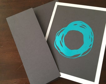 "Enso Minimalist Metallic Foil Print Blank Greeting Cards - set of 4 - Grey Cardstock - A2 - 4.25""x5.5"""