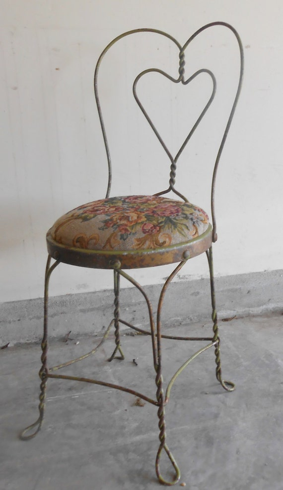 Like this item? - Antique Ice Cream Parlor Wrought Iron Metal Chair Shabby Chic