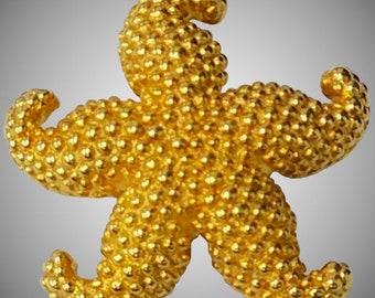 14K Gold Starfish Brooch