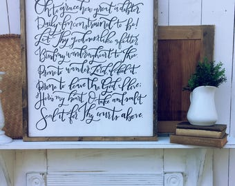 Hand Painted Hand Lettered Framed Wooden Sign Come Thou Fount Bind My Wandering Heart to Thee Hymn Hymnal