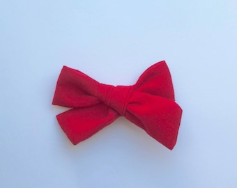 Schoolgirl Bow, Red, nylon band, alligator clip, infant, baby, toddler, girl