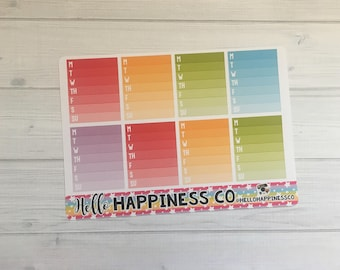 Ombre Weekly Checklist - Checklist Stickers  - Planner Stickers - Functional Stickers - Multiple Color Options