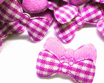 """100pcs x 7/8"""" Pink Gingham Cotton Bow Padded/Appliques"""