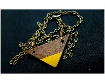 Hand-Cut/Painted Wooden Triangle Necklace, Wooden Jewelry, Wood Jewelry, Wood Necklace, Wood Pendant, Bohemian Jewelry, Minimalist, Bohemian