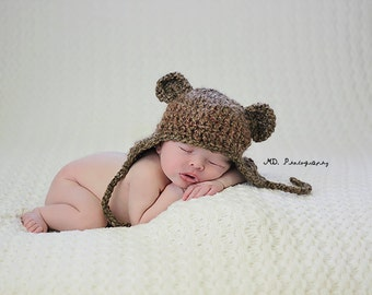 Brown Baby Bear Hat,  Newborn to 3 Months, Photo Prop