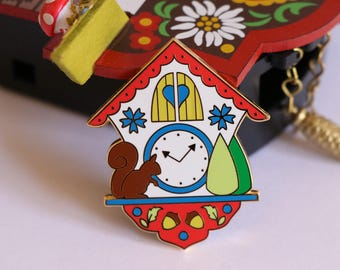 enamel pin, cuckoo clock enamel pin, hard enamel pin, kawaii enamel pin, enamel pin set, lapel pin, cute enamel pin, cuckoo clock, RED