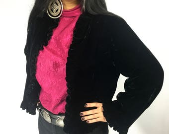 Vintage Black Velvet Open-Front Jacket with Ruffle Trim | S | M