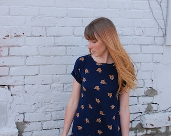 Fox Mini Dress in Navy Blue. Short Sleeve Summer Fashion Long Tunic. Tee Shirt Jersey Simple Top Foxes Print. Stretchy Comfortable Plus Size