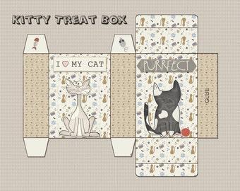 Digital Printable Kitty Treat Box - Printable Treat Box - Cat Gift Box - Cat Treat Box - Cat Soap Box