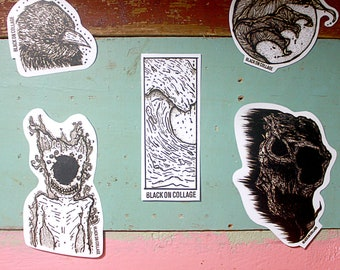 sea and creepy,sticker pack,5 pcs,inkjet sticker pack,sticker collection,sticker pack mixture,black & white,hand drawn,sticker collection
