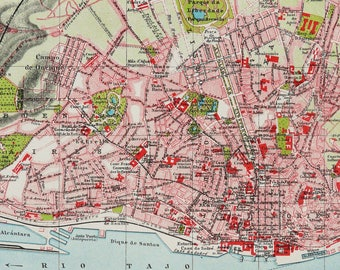 1895 Antique city map of LISBON, PORTUGAL. LISBOA. 123 years old town map