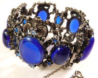 Rennaisance Revival ornate baroque Selro bracelet | cobalt blue vintage glass cabs | unsigned vintage | size large