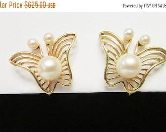 On Sale Vintage Estate Unusual Mid Century Modernist Mikimoto 14K 6 High Luster Pearl Butterfly Earrings