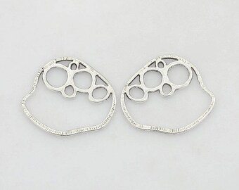 10pcs, Circles with Bubbles, Tibetan Style Alloy Antique Silver Drop