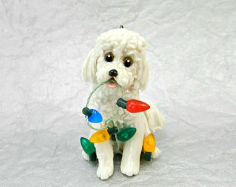 Bichon Frise  Porcelain Christmas Ornament Figurine with Lights