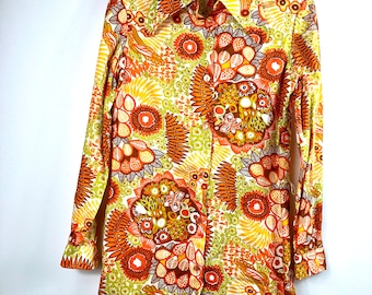 Vintage 60s 70s blouse psychedelic flower power Brady bunch hippie