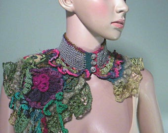 ROMANTIC SHOULDERETTE/COLLAR - Wearable Fiber Art, Freeform Crocheted. Exquisitely Embellished, Hand Crafted Flowers