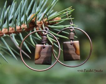 Jasper Hoop Earrings, Copper Jewelry, Copper Earrings, Jasper Earrings, Hoop Earrings, Hoops, Copper Hoop Earrings, Rustic Earrings, Copper