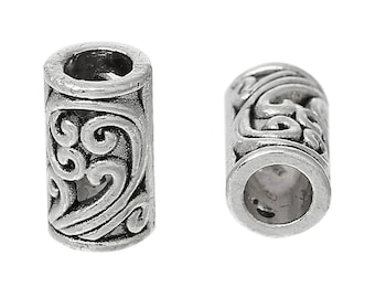 15 9x5mm silver spacer tube beads