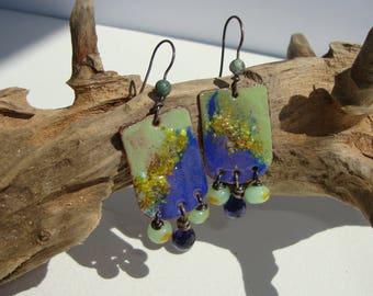 Beaded earrings, enamelled copper, bohemian, ethnic, rustic