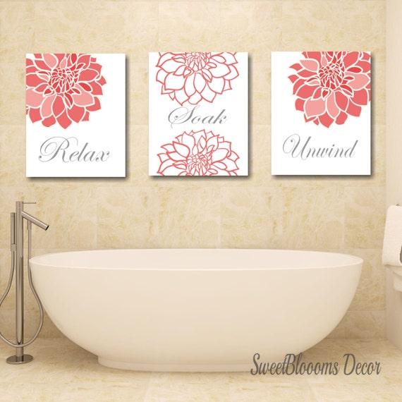Coral Bathroom DecorCoral Gray Bathroom Wall ArtCoral Gray