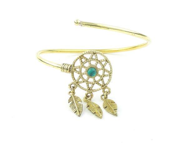 Dreamcatcher Bracelet, Feather Bangle, Turquoise, Western, Indian, Armlet, Bangle, Lower Arm Cuff, Boho, Bohemian, Gypsy, Festival, Hippie