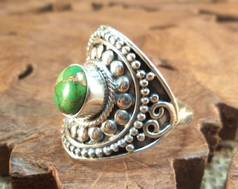 Sterling Ring Copper Green Arizona Turquoise & Highly Textured Sterling Silver Women's Ring, size 9