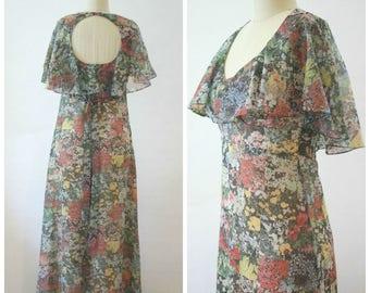 1970s Maxi Dress, 70s Long Sheer Floral Dress, Boho Dress, Prom Dress, Keyhole Back, Chiffon, Lined, Size Small